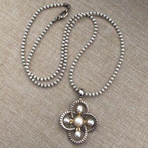 Lagos Luna Pearl Quatrefoil Pendant Necklace 18ct